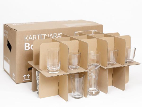 5 Gläserkartons, Karton für Flaschen, Geschirr, Gläsereinsatz, 15-30 Fächer